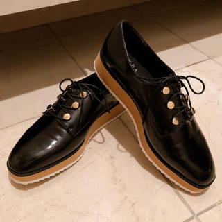 ランダ(RANDA)のRANDA レースアップスクエアトゥ厚底シューズ(ローファー/革靴)