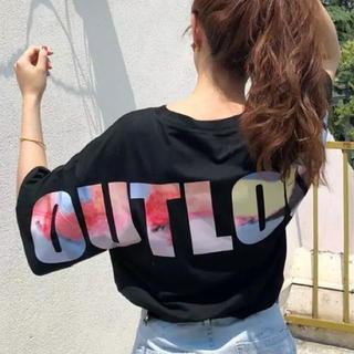 人気‼️ レディース Tシャツ 黒  L ストリート系 10920(Tシャツ(半袖/袖なし))