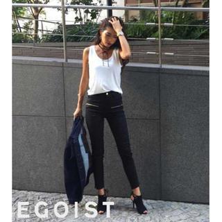 エゴイスト(EGOIST)のEGOIST  ポイントZIPスキニー パンツ ブラック サイズ0(スキニーパンツ)