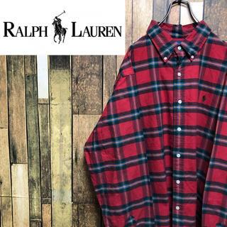 Ralph Lauren - 【激レア】ラルフローレン☆ワンポイント刺繍ロゴビッグレトロチェックシャツ 90s
