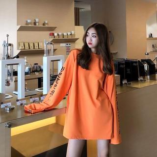オレンジ ストリート系 ロングスリーブ ロングTシャツ ビッグシルエット(Tシャツ(長袖/七分))