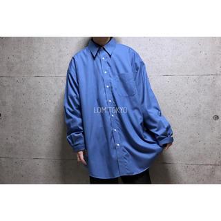 メンズシャツ ブルー ビッグシルエット 長袖 無地シャツ 秋物 ファッション(シャツ)