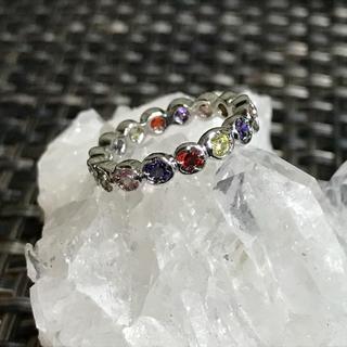 天然石マルチカラーリング☆フルエタニティ☆10号☆sv925(リング(指輪))