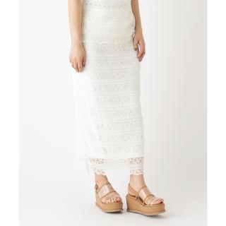 ミスティック(mystic)のmystic レースタイトスカート オフホワイト 白(ロングスカート)