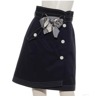 Rirandture - 【新品未使用】リランドチュール スカーフ付配色ステッチスカート ネイビー 1