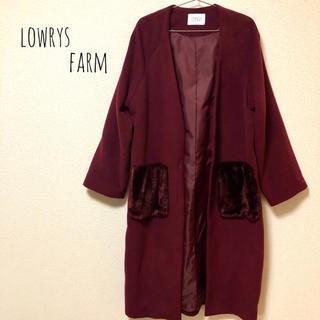 ローリーズファーム(LOWRYS FARM)の【美品】lowrys farm ポケファーコート バーガンディ(ノーカラージャケット)