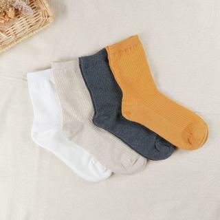 レディース サイズ22~25 リブ柄 綿靴下 4足セット(ソックス)