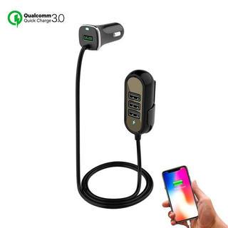 シガーソケット USB 後部座席 車載充電器 12V/24V 4ポート 1.5m(車内アクセサリ)