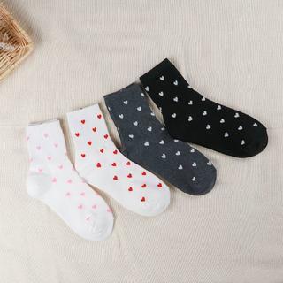 レディース サイズ22~25 ハート 綿靴下 4足セット (ソックス)