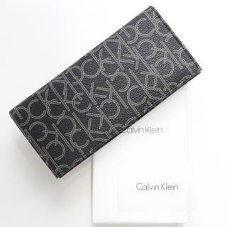 Calvin Klein - 新品 カルバンクライン 長財布 二つ折り 財布 ロゴモノグラム コインケース 黒