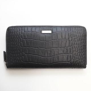 カルバンクライン(Calvin Klein)の新品 カルバンクライン 二つ折り 財布 長財布 クロコ 型押し コインケース 黒(長財布)