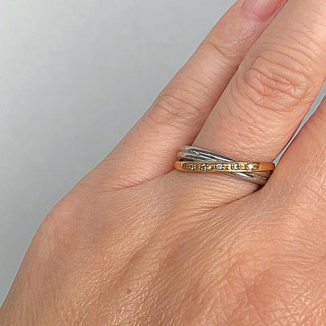 桜咲く様専用です❗️Pt900 K18 コンビリング♪ メレダイヤ5石 レディースのアクセサリー(リング(指輪))の商品写真