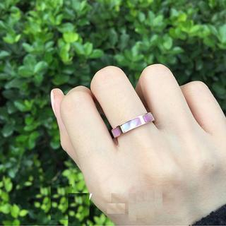 18Kgf ステンレス指輪 ピンクシェル 貝 リング ch037(リング(指輪))