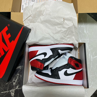 NIKE - AIR JORDAN1 BLACK TOE サテン 24.5cm