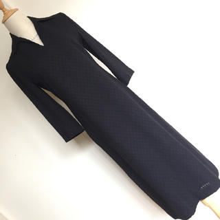 Sybilla - 【美品】シビラ 秋らしい七分袖 スキッパー ロングワンピース ブラック