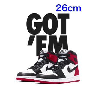 ナイキ(NIKE)のNIKE WOMENS AIR JORDAN 1 BLACK TOE(スニーカー)