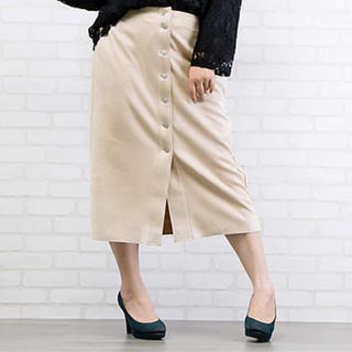 clette - 大きいサイズフロントボタンスエードタイトスカート