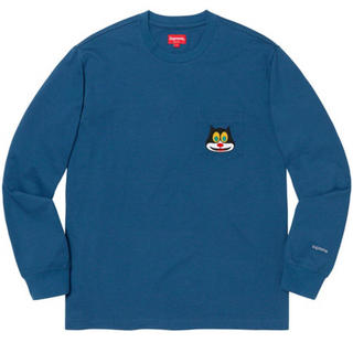 Supreme - Supreme Cat L/S Pocket Tee Navy Large
