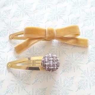 Bonpoint - velour ribbon × tweed ✨パッチンピン セット