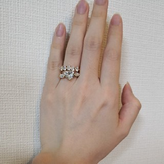 ダイヤモンド リング ダイヤ ハート エタニティ ハーフ 大粒 巨大 指輪(リング(指輪))