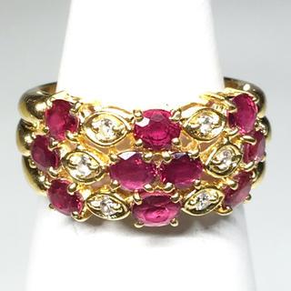 K18 ゴールド ルビー ダイヤモンド リング 指輪 綺麗 お洒落 贈物 女性(リング(指輪))