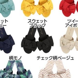 コウベレタス(神戸レタス)のBIGリボン フラットサンダル ♡ ブラック(サンダル)