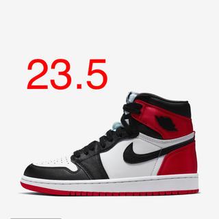 NIKE - Nike air jordan1 black toe satin  23.5cm