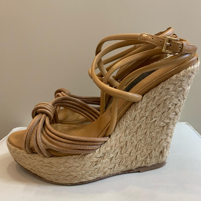 BURBERRY(バーバリー)のバーバリー ブラウンレザー   ウエッジサンダル レディースの靴/シューズ(サンダル)の商品写真