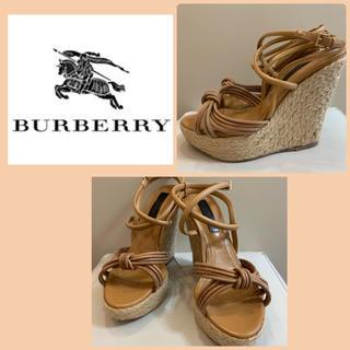 BURBERRY - バーバリー ブラウンレザー   ウエッジサンダル
