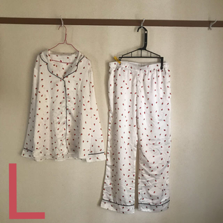 GU - いちごサテンパジャマ / Lサイズ / ホワイト / ルームウェア / GU