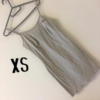905)XSトンボ刺繍付きギンガムチェックキャミワンピース(小さいサイズ(ミニワンピース)