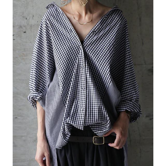 antiqua(アンティカ)のantiqua☆ギンガムチェックワイドシャツ レディースのトップス(シャツ/ブラウス(長袖/七分))の商品写真