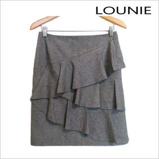ルーニィ(LOUNIE)のLOUNIE◆千鳥格子柄フリルデザインスカート◆ウール混◆黒白系◆40(ひざ丈スカート)