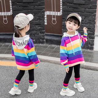 KSBA007春秋可愛い子供服カラフル帽子付きトップス+レギンス(80-120)
