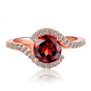 AAAランク ルビー ダイヤモンドcz リング 指輪 ピンクゴールド(リング(指輪))