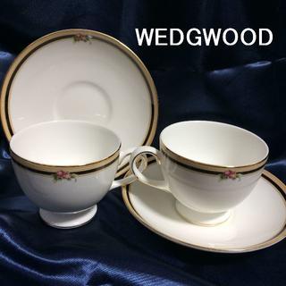 ウェッジウッド(WEDGWOOD)の廃盤 美品 ウェッジウッド クリオ 兼用カップ&ソーサー 2客(グラス/カップ)