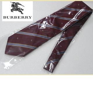 BURBERRY - 美品★バーバリーロンドン【ホースロゴ入りストライプ】高級ネクタイ★