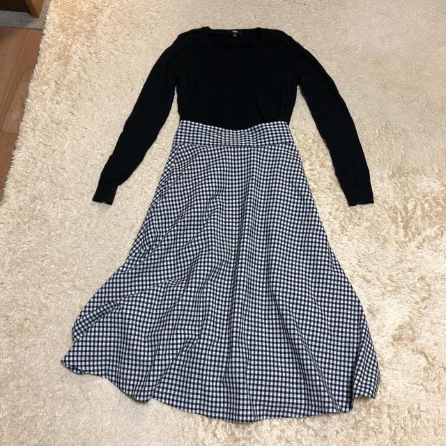 GU(ジーユー)のGU ギンガムチェックスカート レディースのスカート(ロングスカート)の商品写真