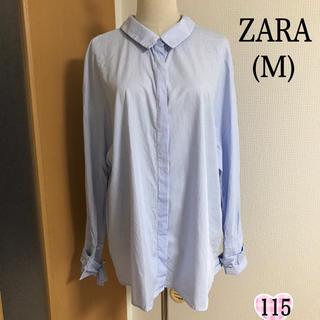 ZARA - ZARA  バックリボン  ストライプ  ブラウス(M)