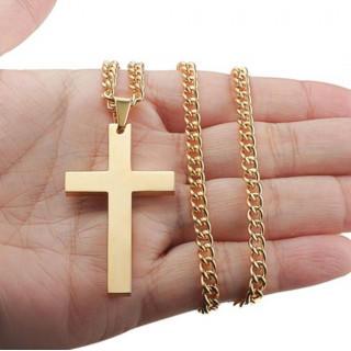 【ゴールド】クロス ネックレス 十字架 ステンレス ペンダント プチプラ(ネックレス)