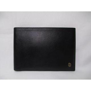 カルティエ(Cartier)の超美品 カルティエ ウォレット 二つ折リ札入れ財布 黒 革 本物(折り財布)