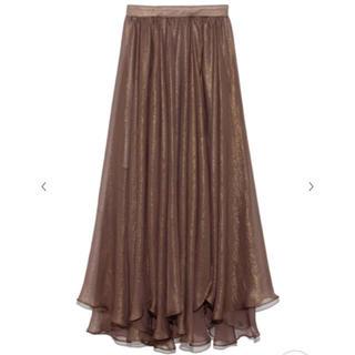 リリーブラウン(Lily Brown)のLily Brown リリーブラウン  スカート 光沢シースルーフレアスカート(ロングスカート)