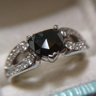鑑付き 大粒 1.0ct プラチナ ブラックダイヤモンド リング Pt《新品》(リング(指輪))