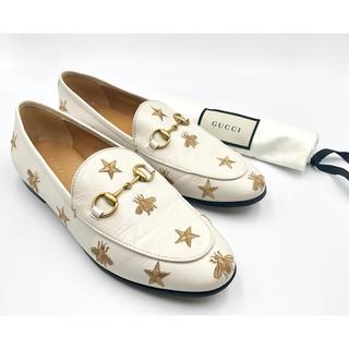 グッチ(Gucci)のグッチ☆ ヨルダーン エンブロイダリー レザー ローファー ホワイト(ローファー/革靴)