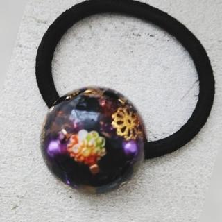 レジンヘアゴム  ドーム型 宝石箱 紫