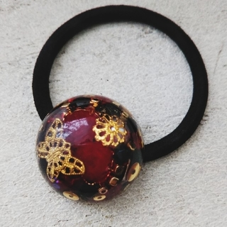 レジンヘアゴム ドーム型 宝石箱 蝶々
