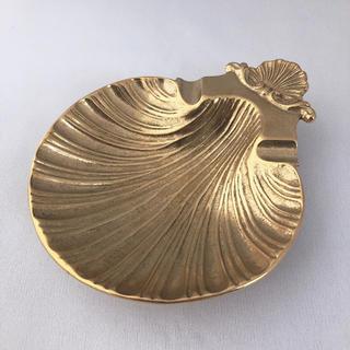 イタリア製 シェルトレイ 灰皿 小物入れ アンティーク調 オシャレ ゴールド(灰皿)