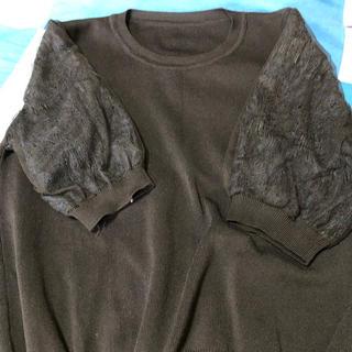 ディーホリック(dholic)のDHOLIC 袖レースカットソー黒(カットソー(半袖/袖なし))