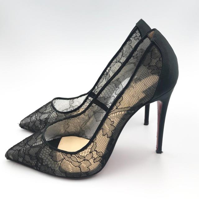 Christian Louboutin(クリスチャンルブタン)のクリスチャンルブタン☆ブラックレース パンプス ピンヒール レディースの靴/シューズ(ハイヒール/パンプス)の商品写真