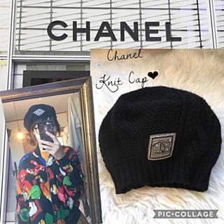シャネル(CHANEL)のシャネル 美品 カシミヤ ニット ベレー帽 黒 ロゴ 帽子(ニット帽/ビーニー)